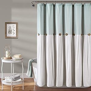 "Lush Decor, Blue & White Linen Button Shower Curtain, 72"" x 72"""