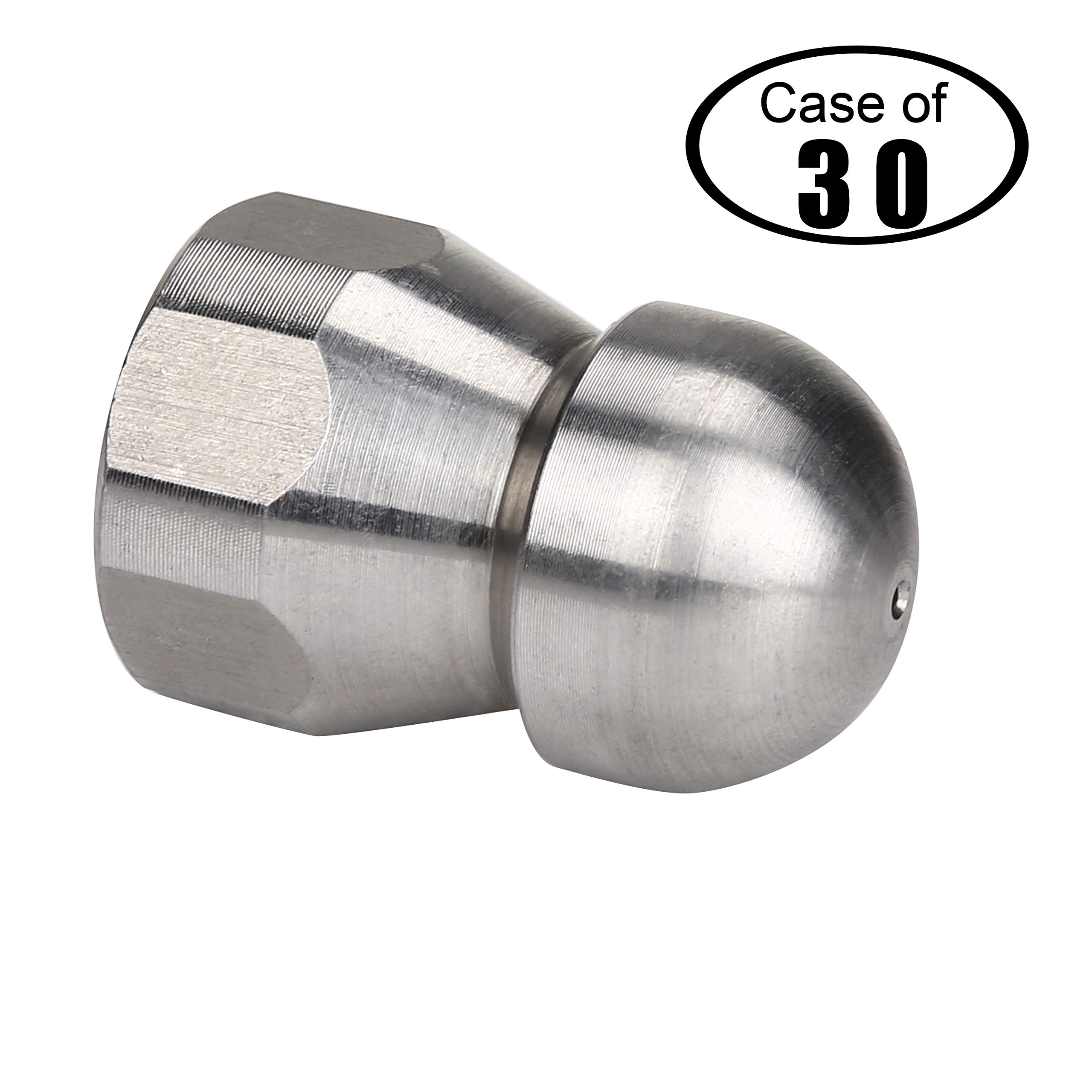 Tool Daily Case of 30, Stainless Steel Fixed Sewer Jet Nozzle, Button Nose Female, 4.0 Orifice, 4000 PSI (3/8'')