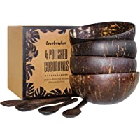 Deals on Coconut Bowls And Wooden Spoon Sets of 4
