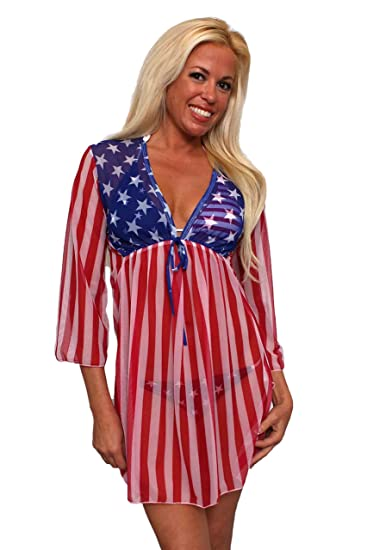 81a894ac39 SHORE TRENDZ Gorgeous USA Flag Long Sleeve Cover-up Beach Dress Stars and  Stripes Swimwear at Amazon Women's Clothing store: