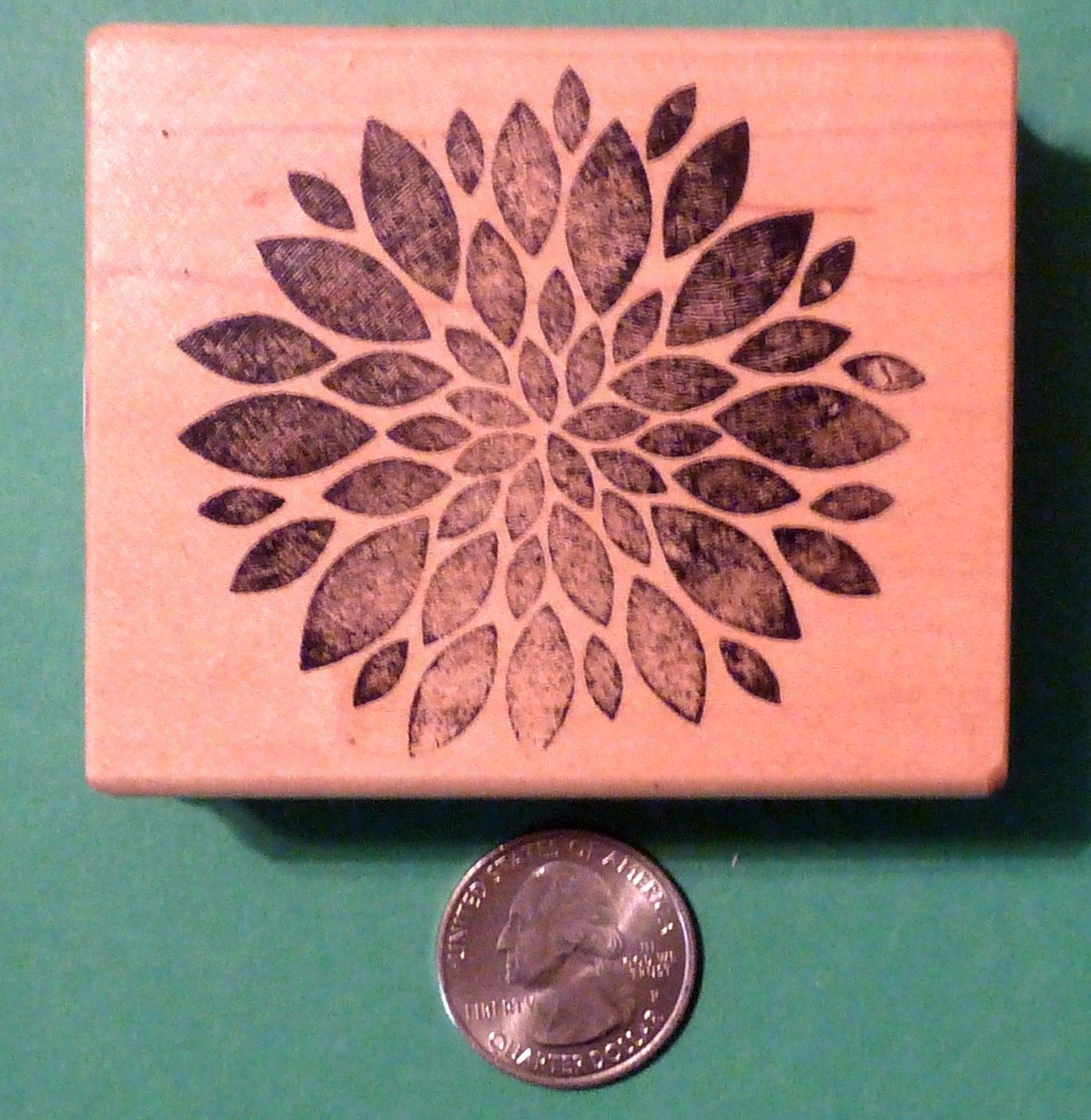 Dahlia Blossom Rubber Stamp, Wood Mounted