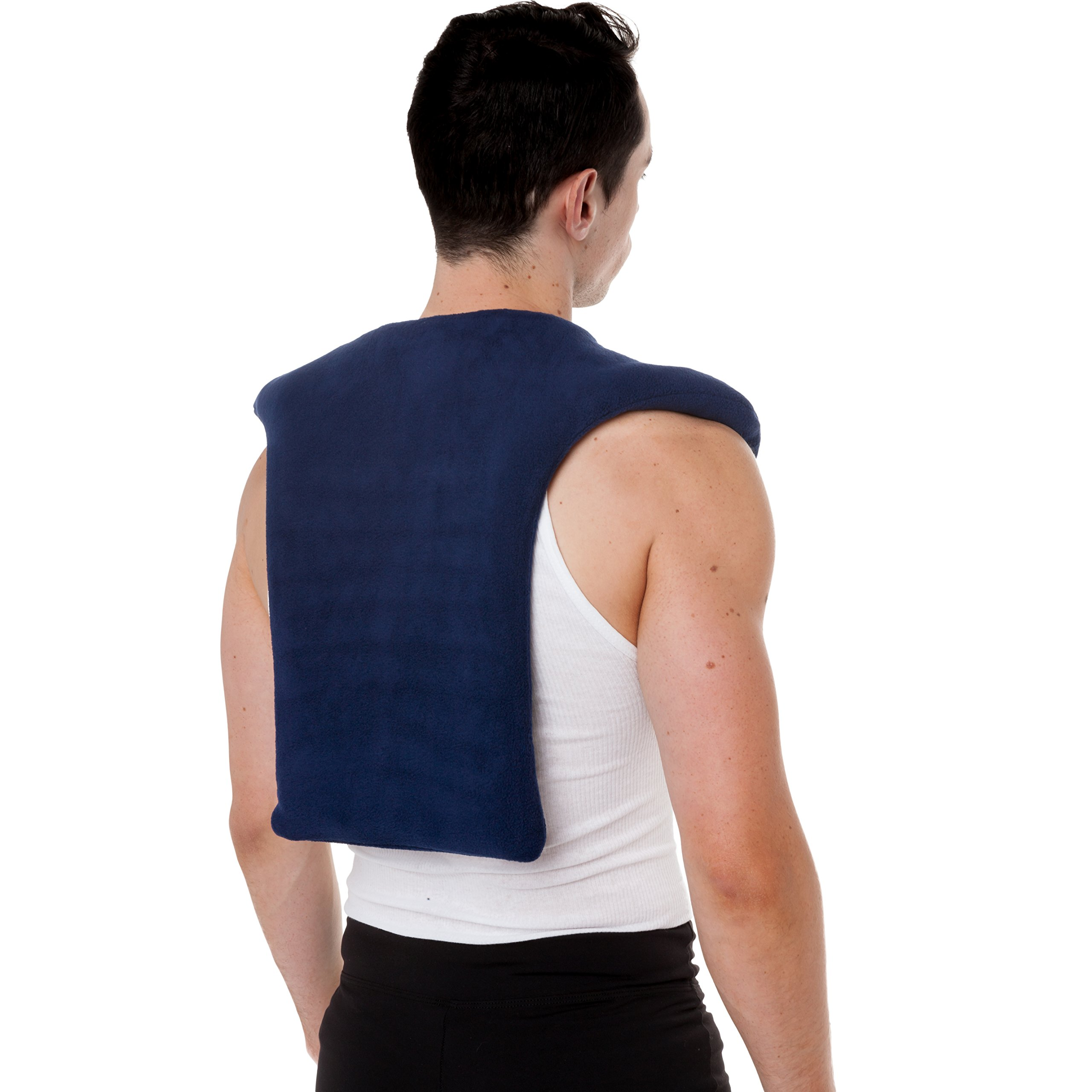 Sunny Bay Extra Large Microwave Shoulder & Upper Back Heating Wrap, Moist Hot and Cold Pack, Thermal Therapy for Back Pain, Navy Blue, 3.8 Pound