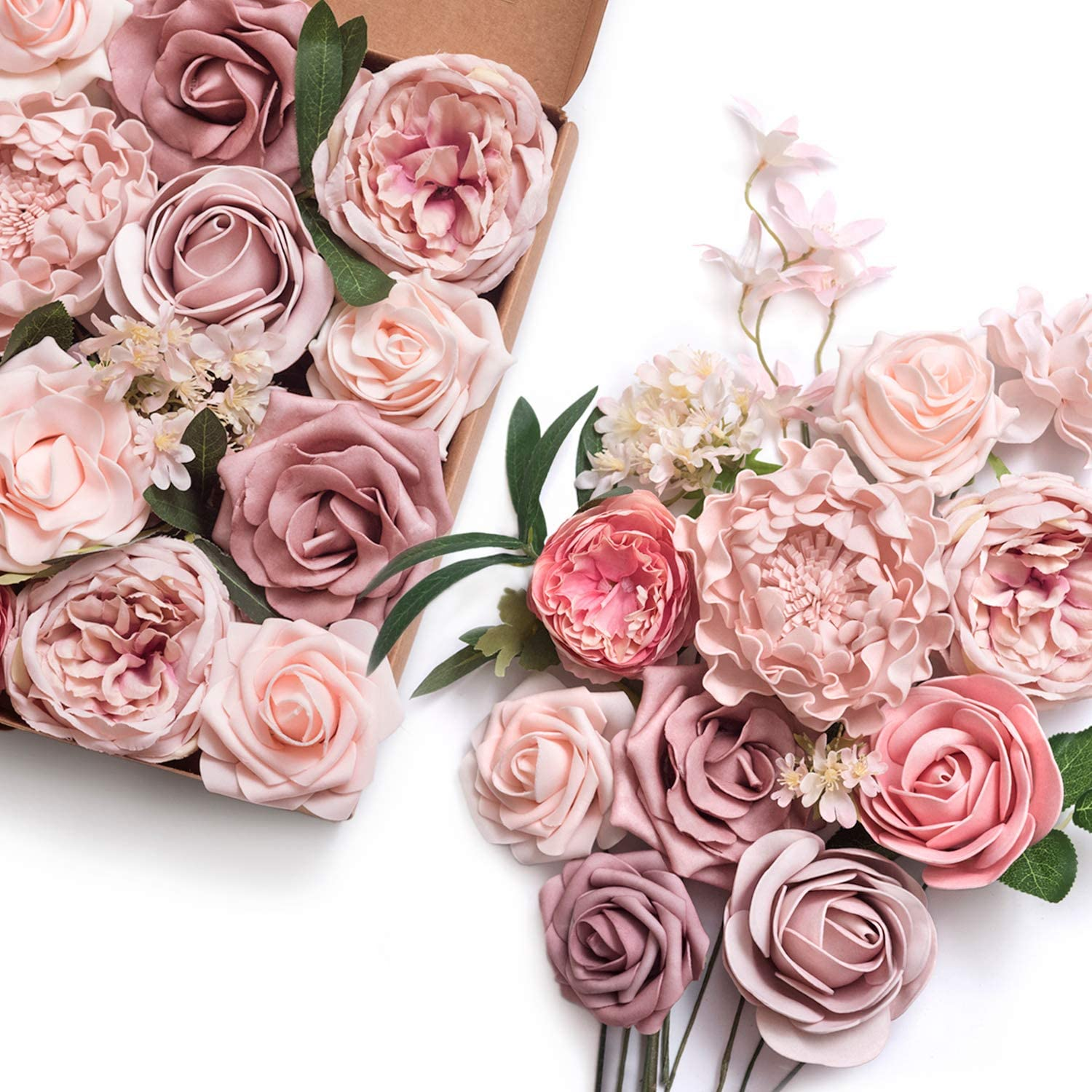 Ling's moment Artificial Flowers Combo for DIY Wedding Bouquets Centerpieces Arrangements Party Baby Shower Home Decorations (Athens Blush)