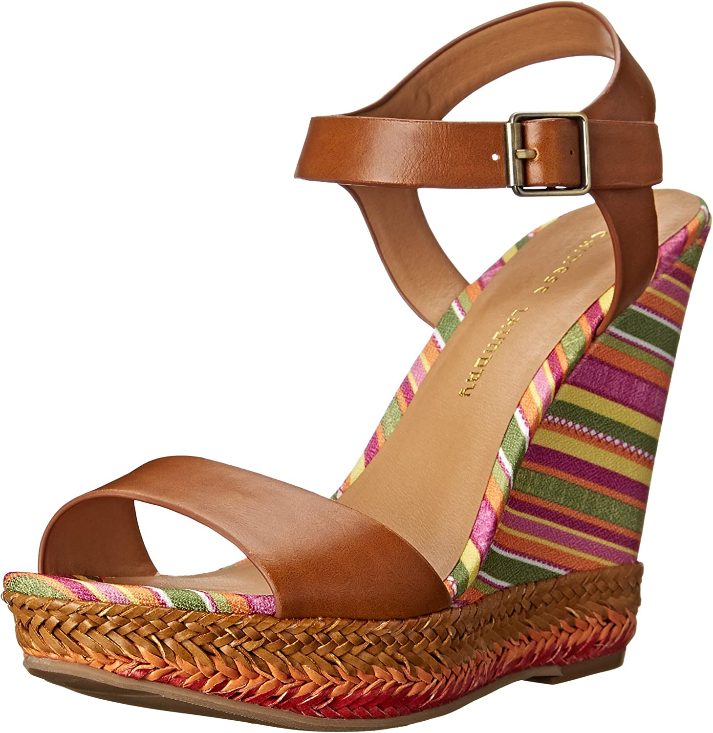 Chinese Laundry Mahalo Wedge Sandal Striped Espadrille Wedge Sandal