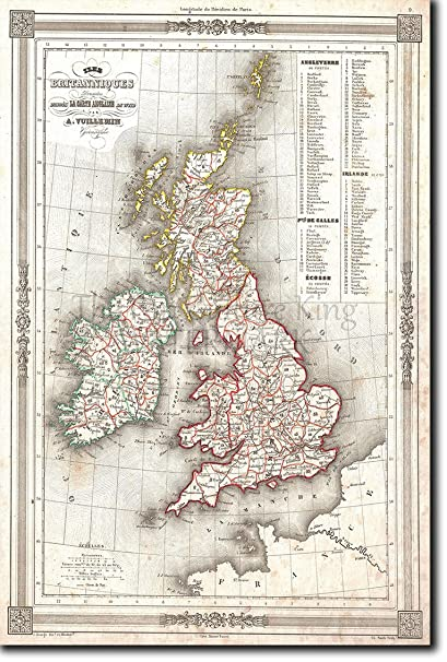 Vintage Map Of United Kingdom From 1852 Photo Print Poster Unique