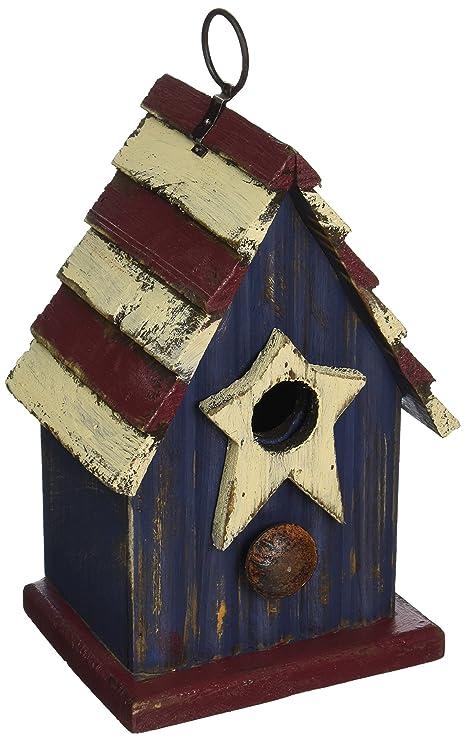 Exceptionnel Glitzhome 9.06u0026quot; H Rustic Patriotic Garden Distressed Wooden Decorative  Bird House