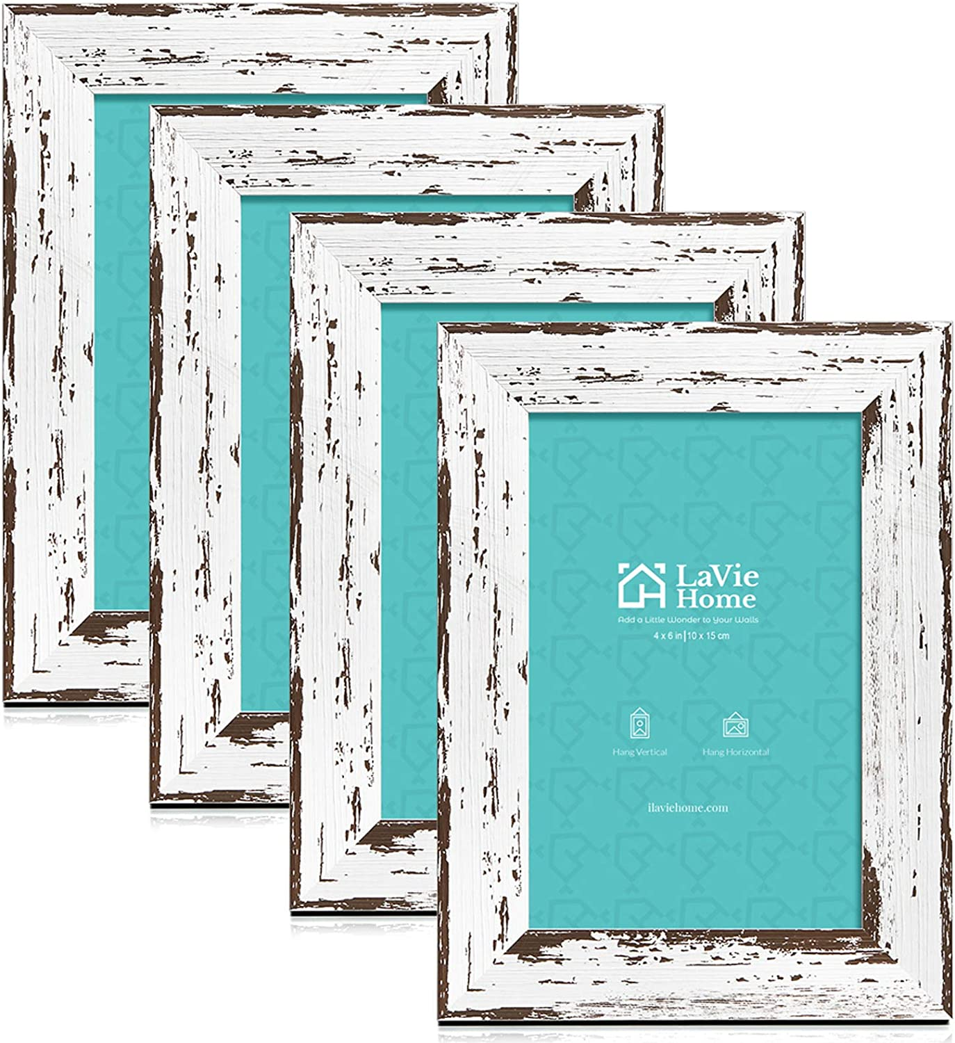 LaVie Home 4x6 Picture Frames (4 Packs, Distressed White) Wooden Textured Finish Photo Frame with High Definition Glass for Wall Mount & Tabletop Display