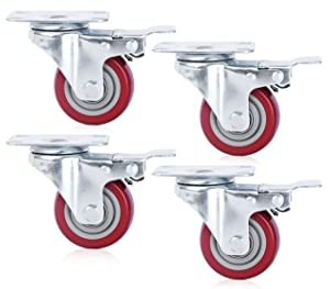 Finnhomy Caster Wheels Set of 4 with Brake 3 Inch Plate Swivel Casters Premium Polyurethane Wheels PU Load Bearing 1,200 Lbs Lockable Anti-wear Smooth Casters Red