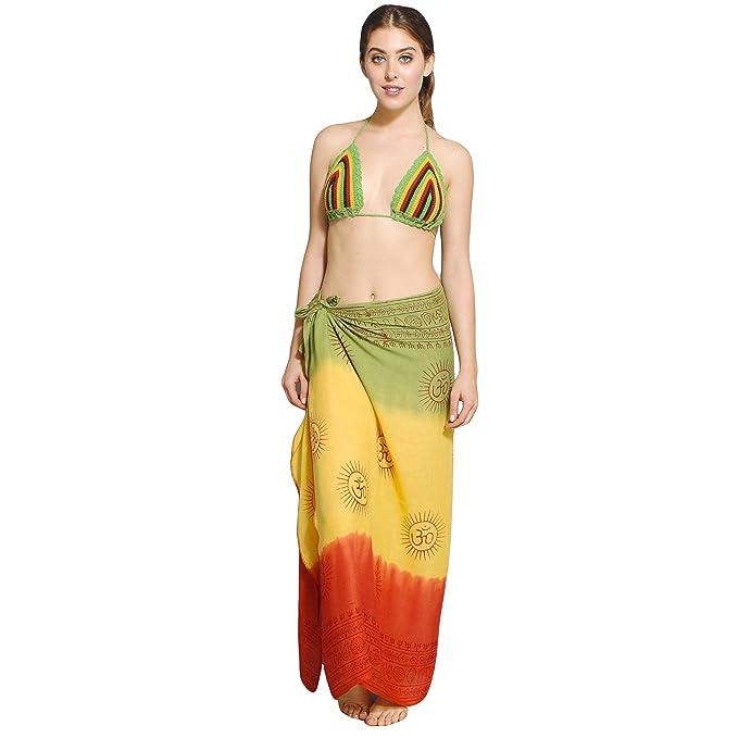 45e0416e5a Women s Om Mantra Rasta Sarong Beach Wrap Cover Up  Amazon.ca  Clothing    Accessories