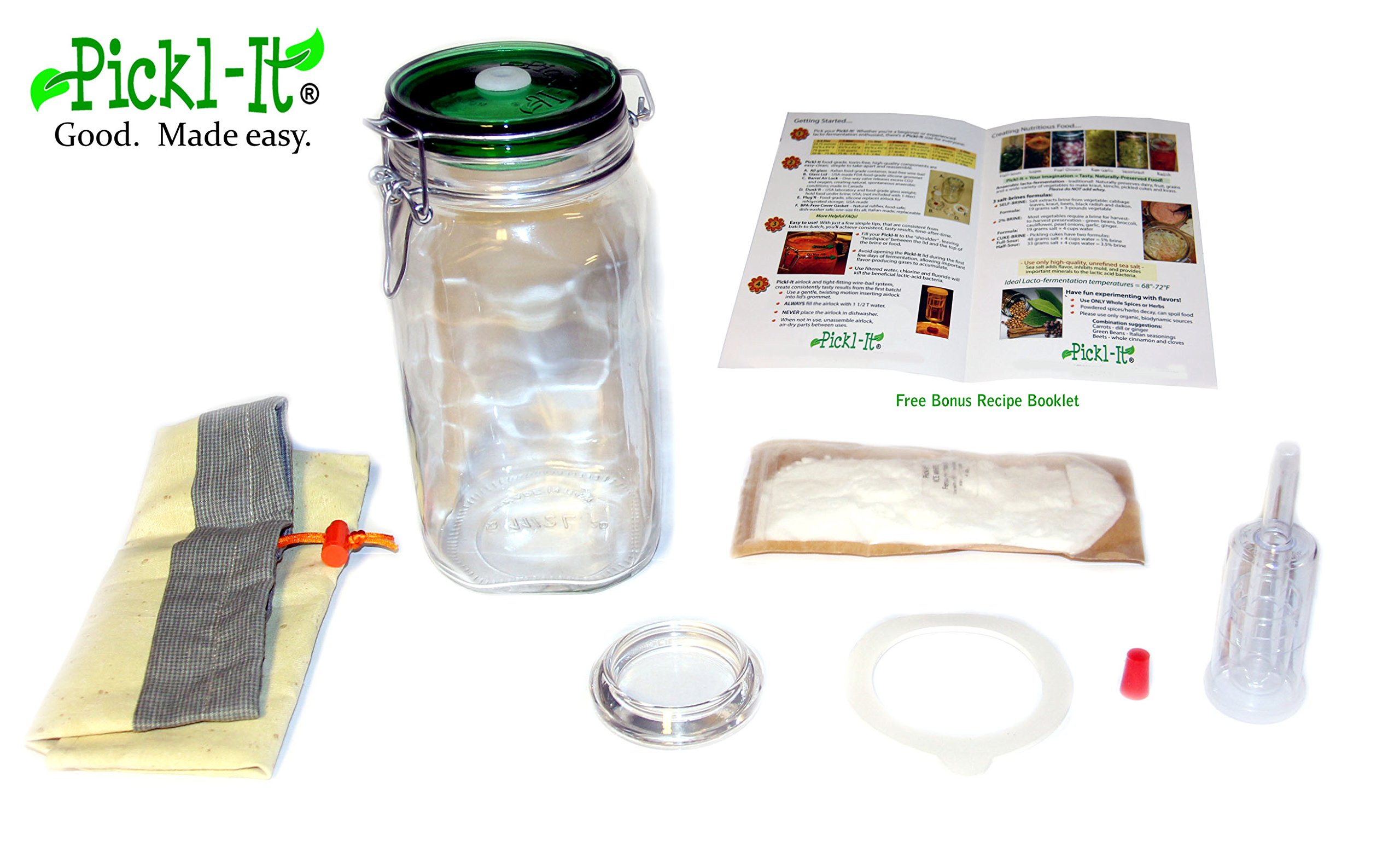 Pickl-It The Complete Deluxe Set Fermentation Lid Kit Convert 'Fido' Jars For Anaerobic Pickling