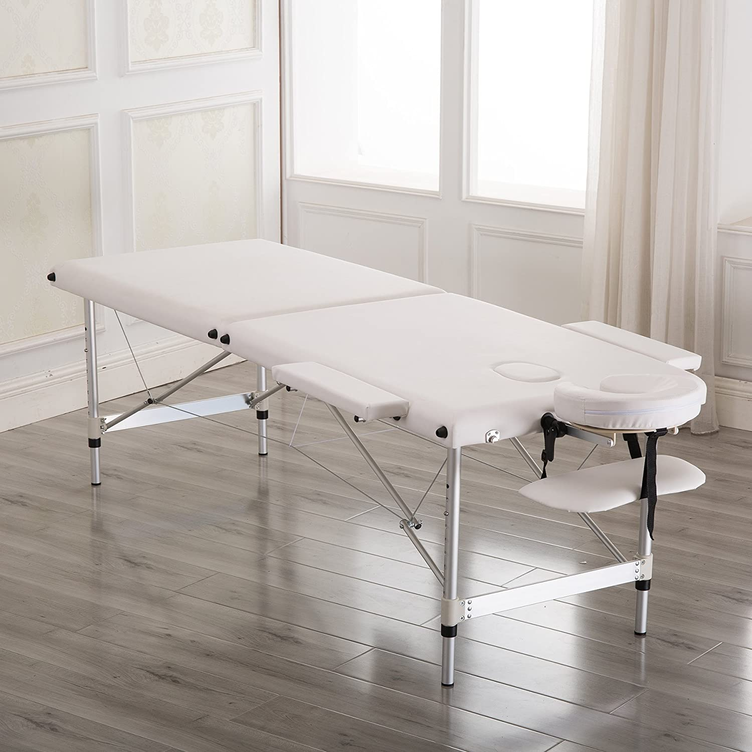Massage Table Spa Bed 76 Aluminum Height Adjustable 2 Fold Salon Bed with Carrying Bag,White