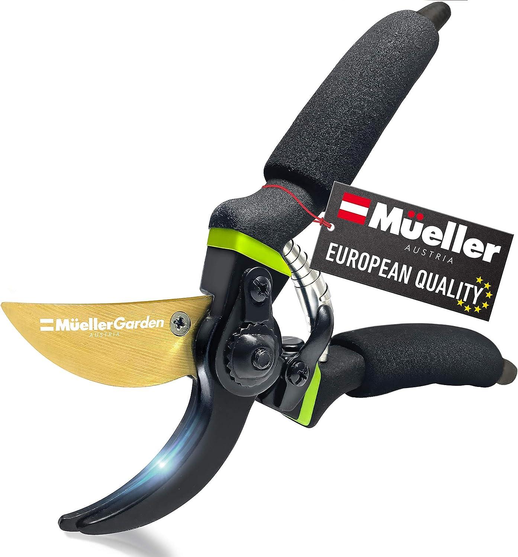 Mueller Soft Grip Garden Pruning Shears, Heavy Duty Pro Series Garden Clippers, Bypass Pruners, Durable Hardened Titanium Blades, 1.2