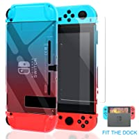 YUANHOT Nintendo Switch Case Dockable [Updated], Protective Case Cover Nintendo Switch Joy-Con Controller 1Pack Tempered Glass Screen Protector Gradient Color Blue Red