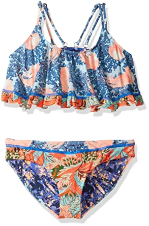 f676875aed8b8 Maaji Little Girls' Mixed Print Flounce Top Bikini Swimsuit Set, Miss  Jellyfish Multi,
