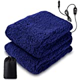 Zone Tech Sherpa Fleece Travel Blanket – Premium Quality 12V Blue Cozy Soft Plush Warm Fuzzy Automotive Comfortable Car…