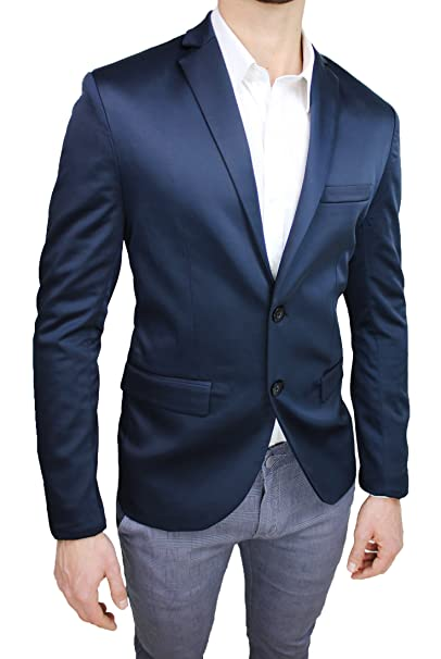 best website 2d253 1cfd5 Giacca Uomo Sartoriale Tessuto Raso Blu Lucido Slim Fit ...