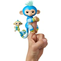 WowWee Fingerlings Baby Monkey & Mini Bffs Billie & Aiden Finger Puppets, Blue Green