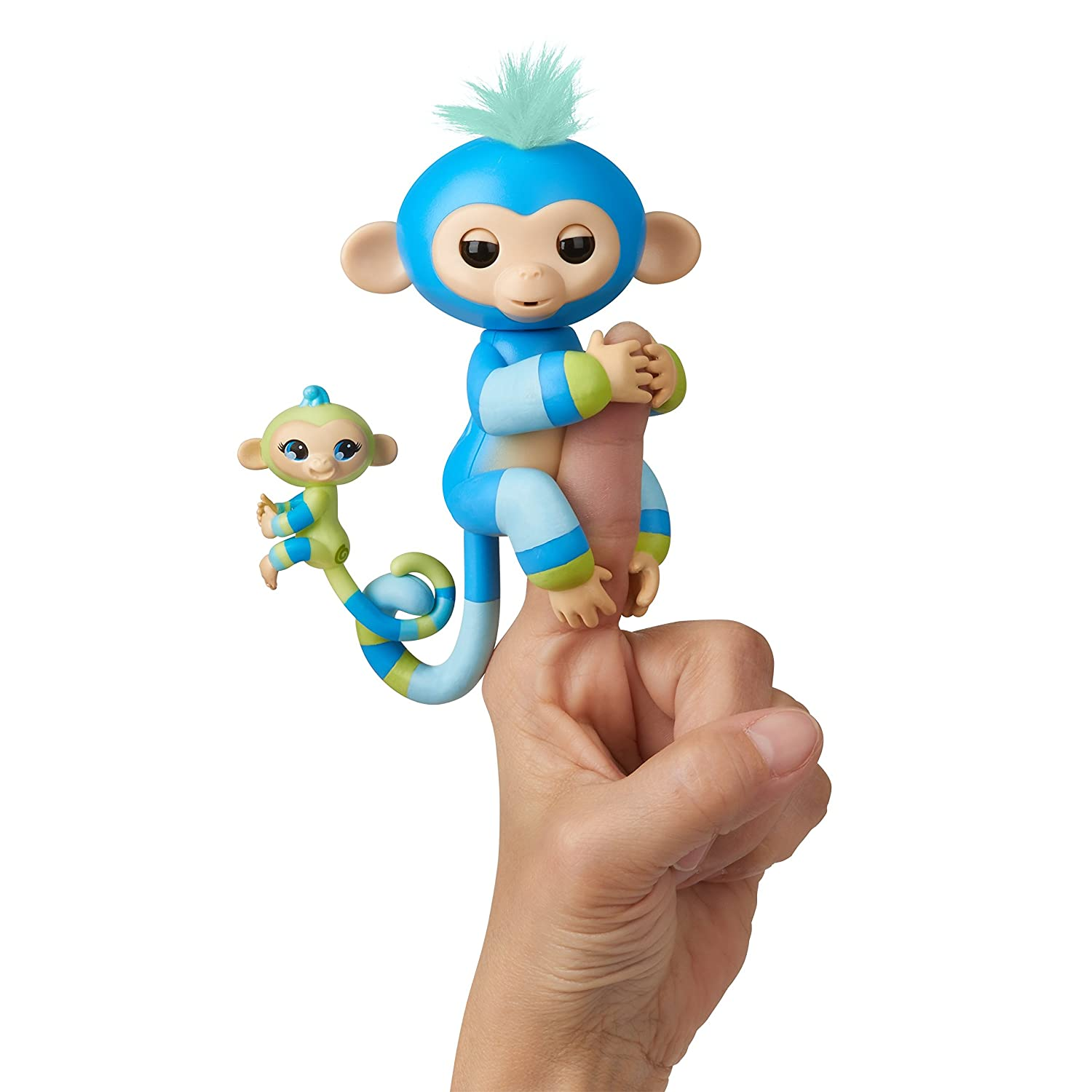 WowWee Fingerlings Baby Monkey & Mini BFFs Ashley and Chance (Turquoise), Pink 3542