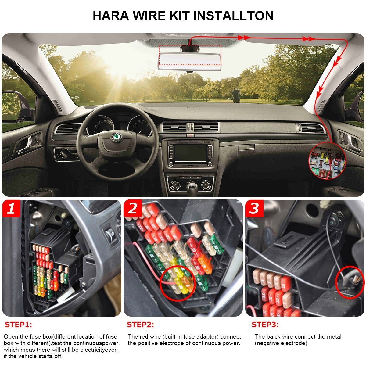 Dash Cam Hardwire Kitleft Angled Micro Usbdc 12 24v To 5v Car Fuse Box Test Charger Cable Kits115 Foot For Dashboard Camera Power Supply Gps