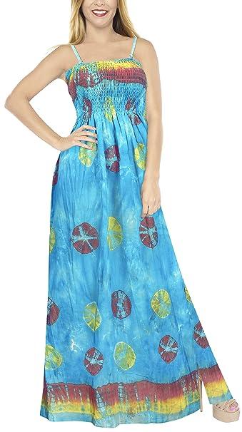 LA LEELA algodón Tie-Dye Correas Ajustables y Desmontables de Las Mujeres del Vestido Tubo Largo: Amazon.es: Ropa y accesorios
