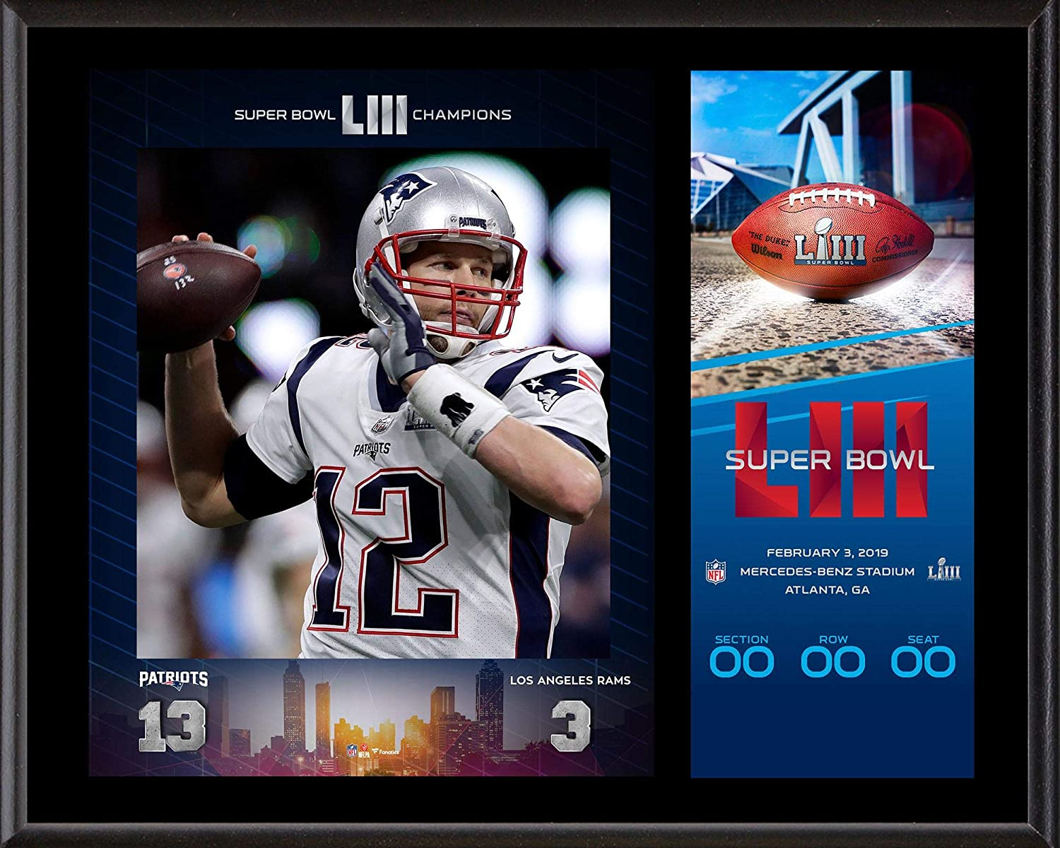 Tom Brady New England Patriots 12'' x 15'' Super Bowl LIII Champions Sublimated Plaque with Replica Ticket - NFL Team Plaques and Collages