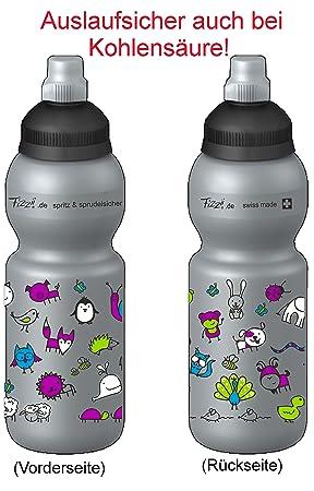 Fizzii Niños 330 Plata plástico botella caño seguro en carbón Acid, sin sustancias nocivas,