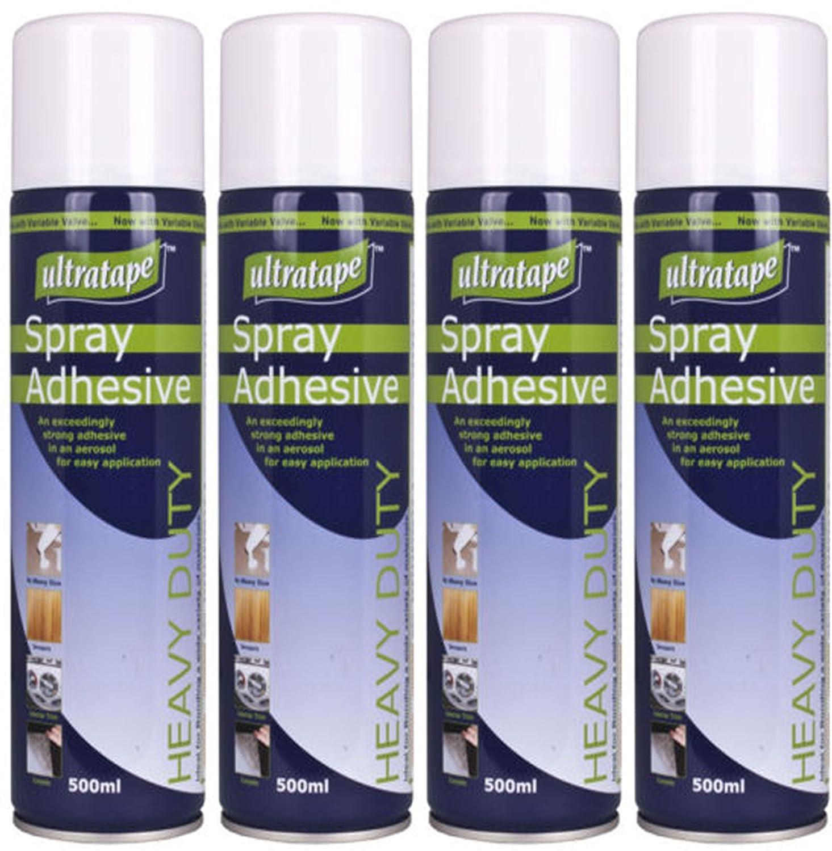 4 x 500ml Tin Heavy Duty Carpet Fabric Foam Craft Spray Mount Adhesive Multi-Purpose Glue Get Goods