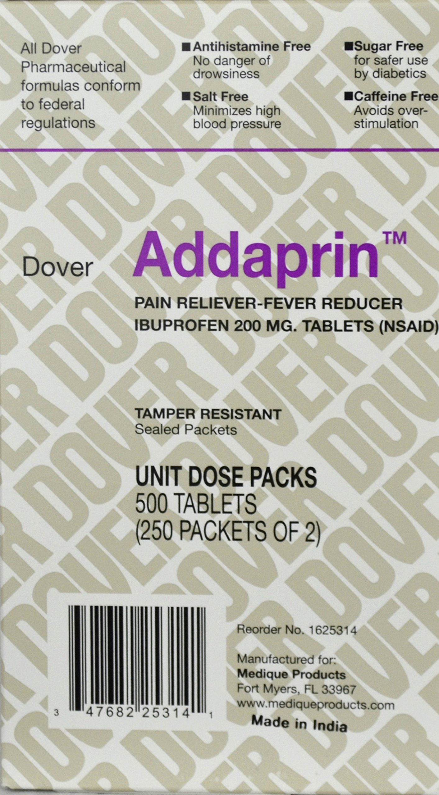 Addaprin Pain Relief Tablets Ibuprofen 200 mg. (500 Tablats /Box) 1 Case (6 Boxes) by Medique - MS65050 by Medique