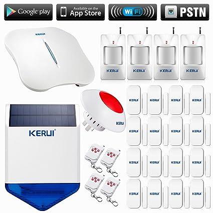 KERUI - W1 alarma casa garaje/oficina Wifi Inalámbrica telefónica - Lote de 16 detectores de apertura/Avisador de intrusión ...
