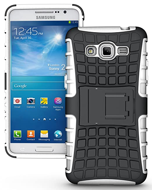 hot sale online d4d9c df533 NAKEDCELLPHONE WHITE GRENADE GRIP RUGGED TPU SKIN HARD CASE COVER STAND FOR  SAMSUNG GALAXY GRAND PRIME PHONE (aka Galaxy Grand Prime Duos, SM-G530H, ...