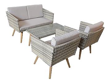 Amazon.de: Jet-Line Gartenset Cassis gelb-grau-beige meliert Lounge ...