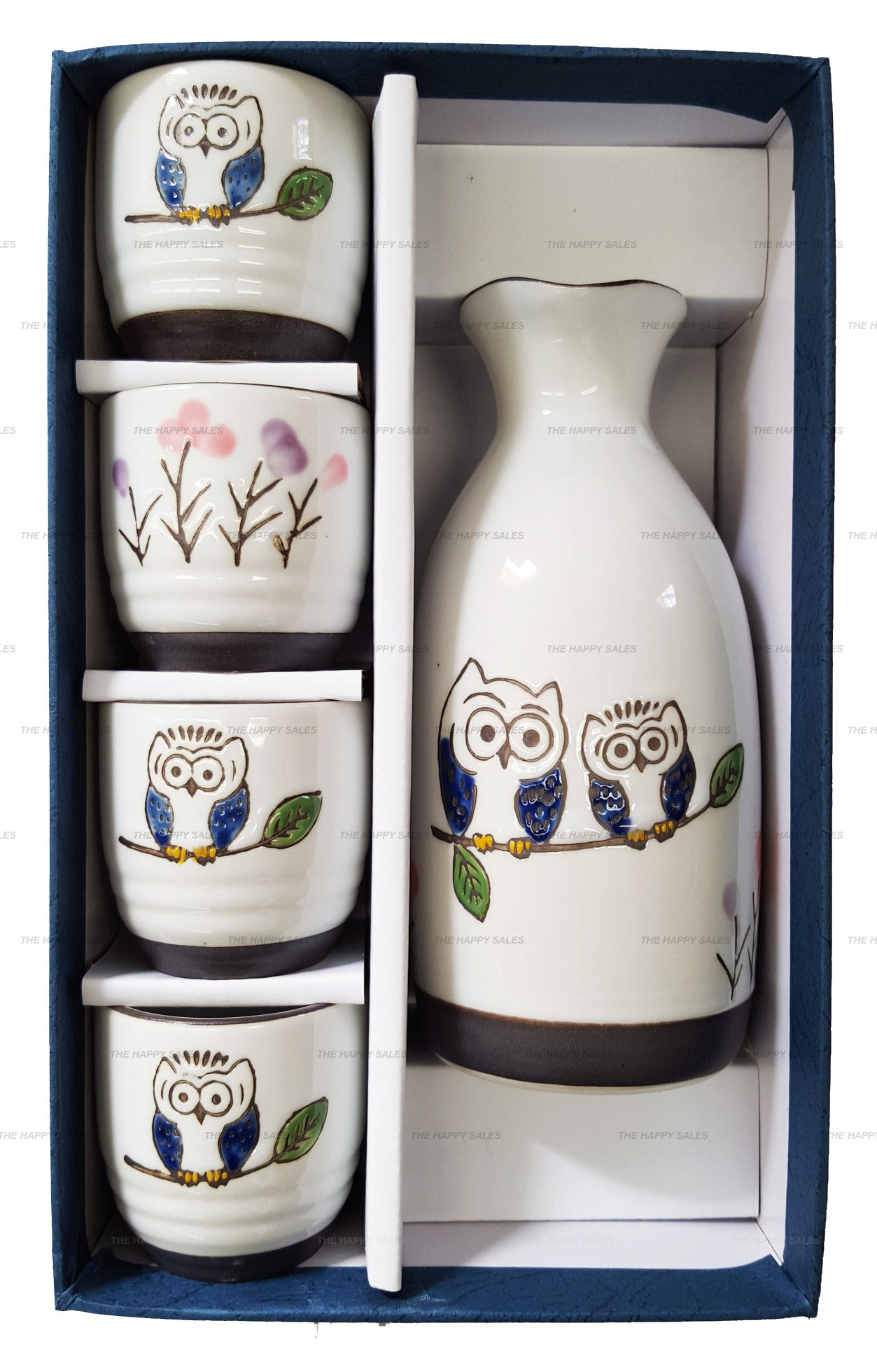 Happy Sales HASS-OWL17,  Porcelain Sake Set Owls