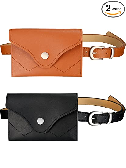 b6a1650311e Gejoy 2 Pieces Womens Fashion Leather Belt Fanny Pack Removable Belt with  Waist Pouch Mini Purse Travel Cell Phone Bag