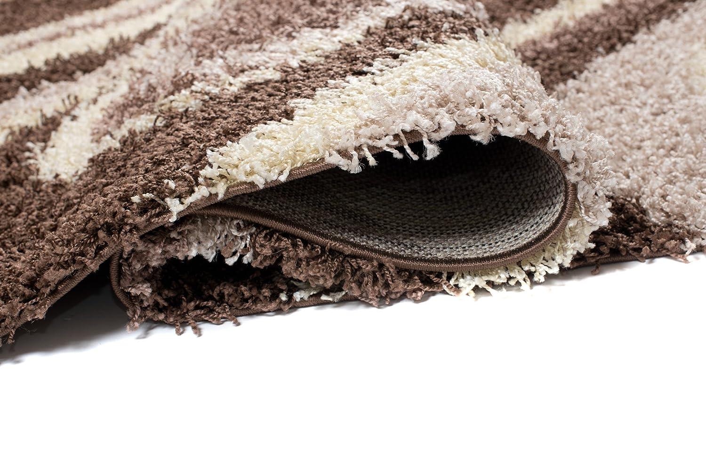 Carpeto Teppich Cm Shaggy Modern Braun 160 X 220 Cm Teppich Wellen