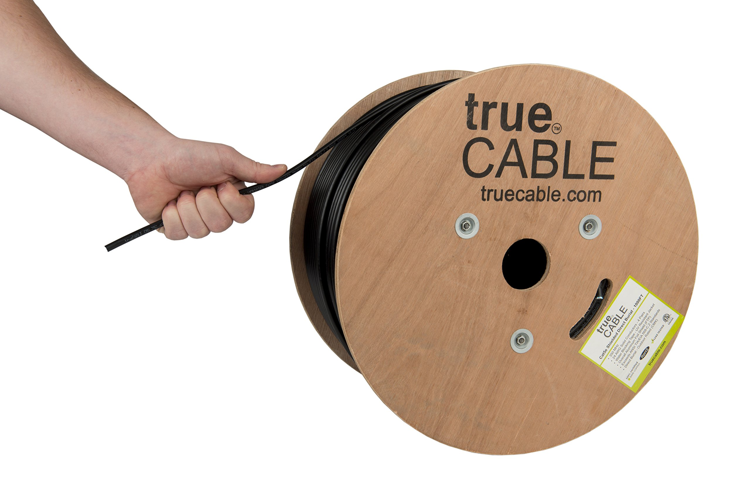 Cat5e Outdoor, Shielded - FTP, 1000ft, Waterproof Direct Burial Rated CMX, Solid Bare Copper Bulk Ethernet Cable, 350MHz, ETL Listed, Black, trueCABLE by trueCABLE (Image #1)