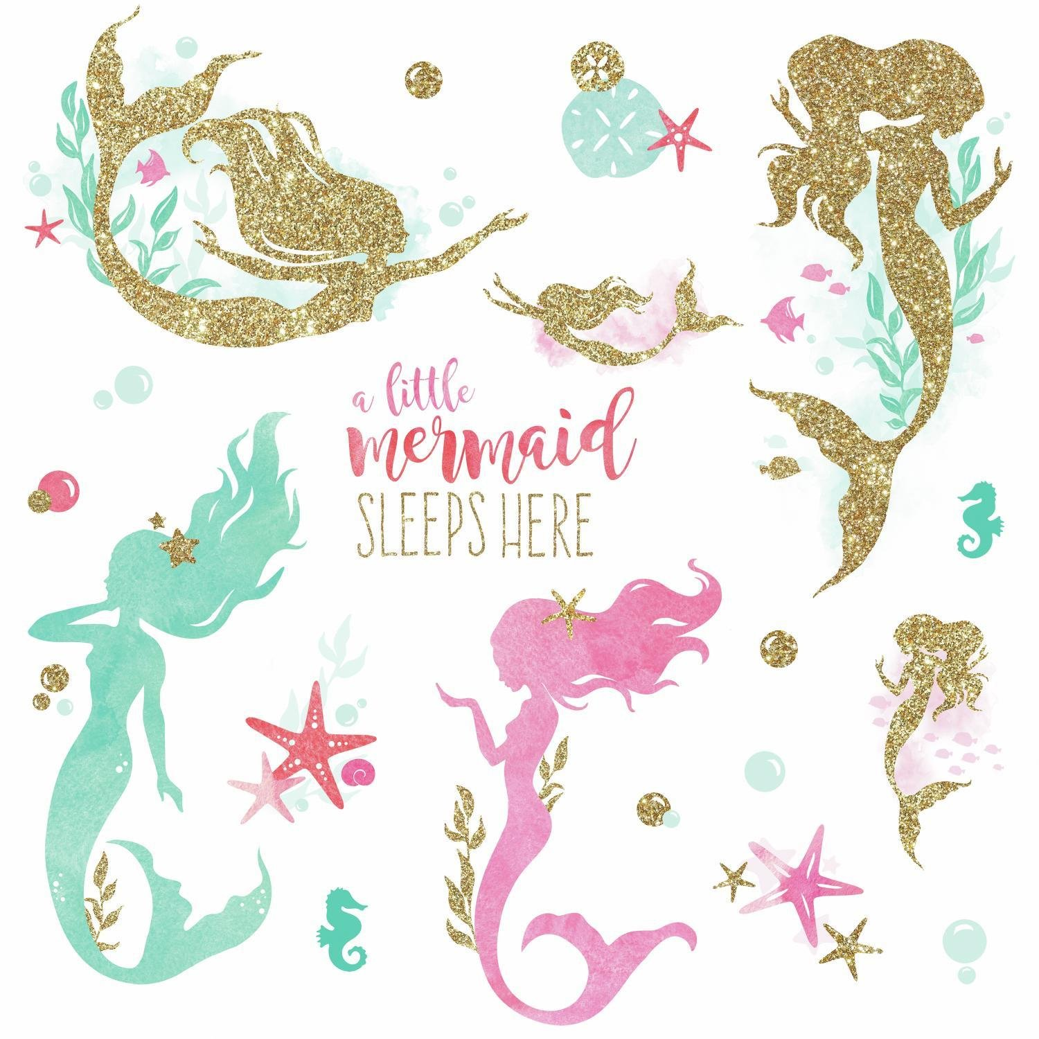RoomMates Mermaid Peel And Stick Wall Decals With Gltter by RoomMates (Image #4)