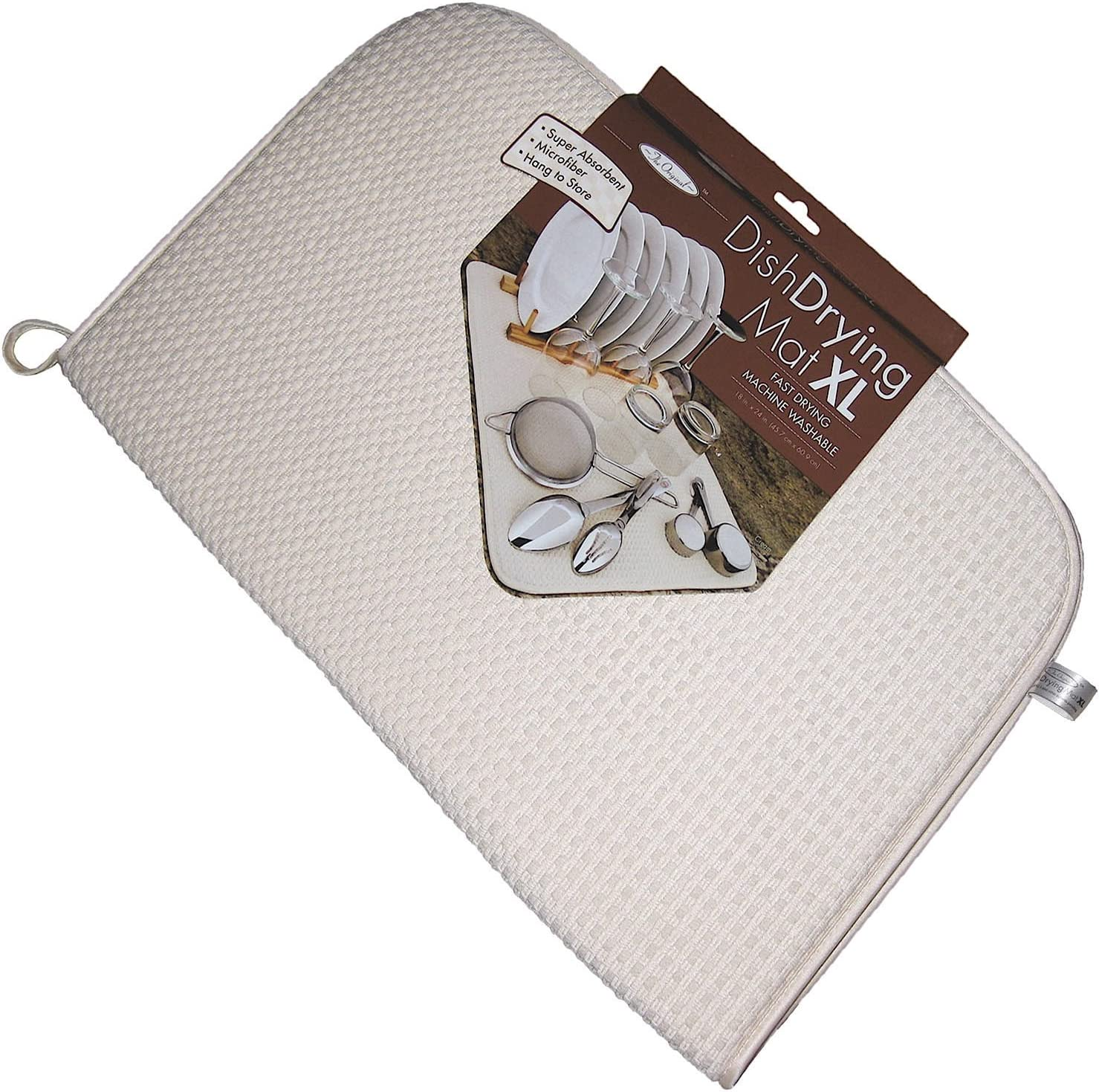 The OriginalTM Dish Drying Mat XL Microfiber Machine Washable BLACK Fast Drying 18X24 DUAL SURFACE Absorbent