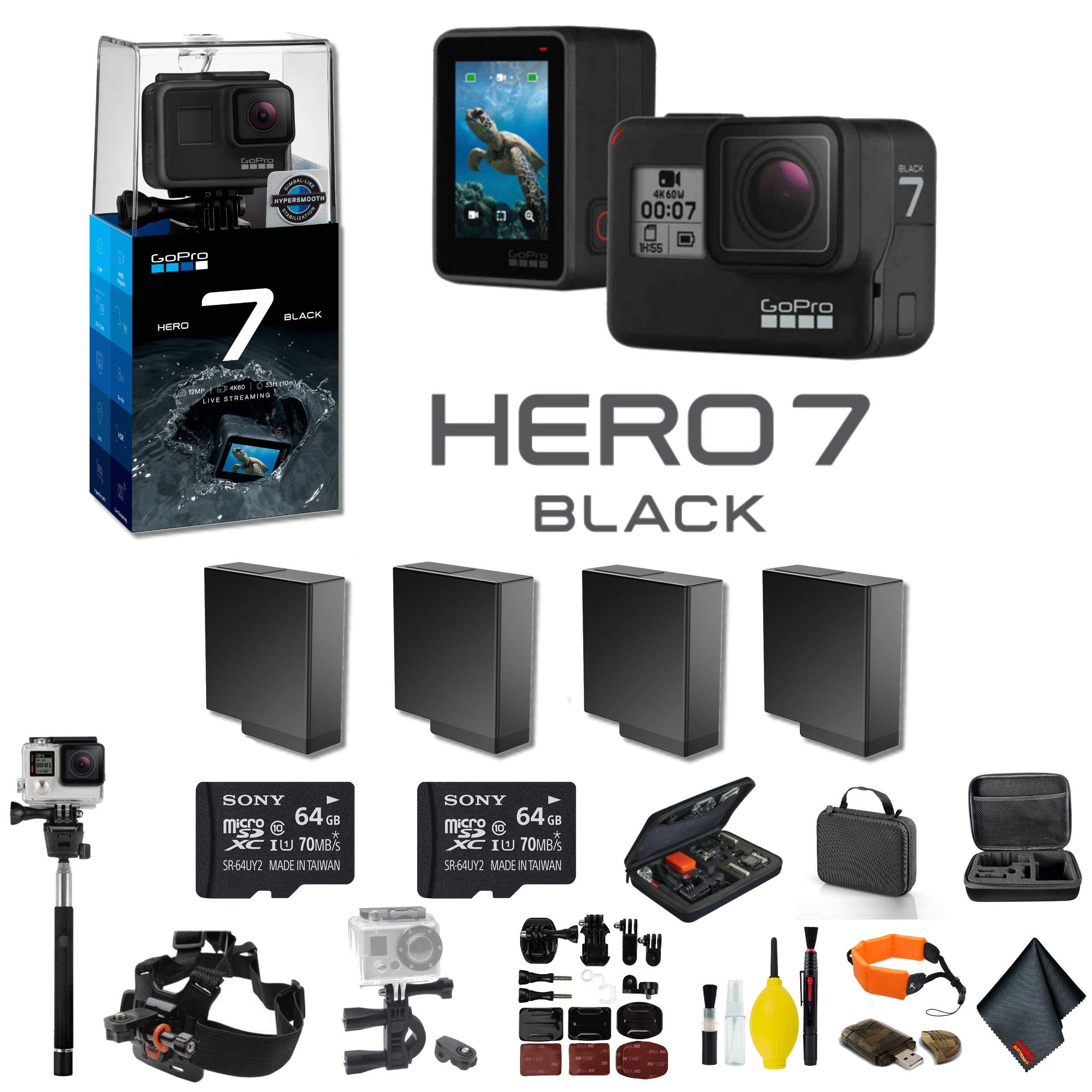 GoPro HERO7 Black Action Camera 3 Extra Battery, External Charger, 2 64GB Memory Card, Case, Chest Mount, Handle Bar Mount, Selfie Stick, Floating Strap More.- 4 Battery Bundle