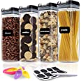 Airtight Food Storage Container Set - 4 PC Set - Labels, Marker & Spoon - Kitchen & Pantry Organization Containers Great for