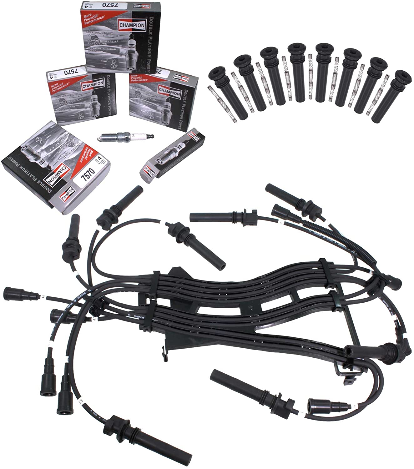 Apdty Tune Up Kit Includes 16 Oem Spark Plugs 05 Chrysler 300 Ignition Wiring Diagram Wires Cop Coil On Plug Boots Fits 2003 2005 Dodge Ram Pickups With 57l Hemi