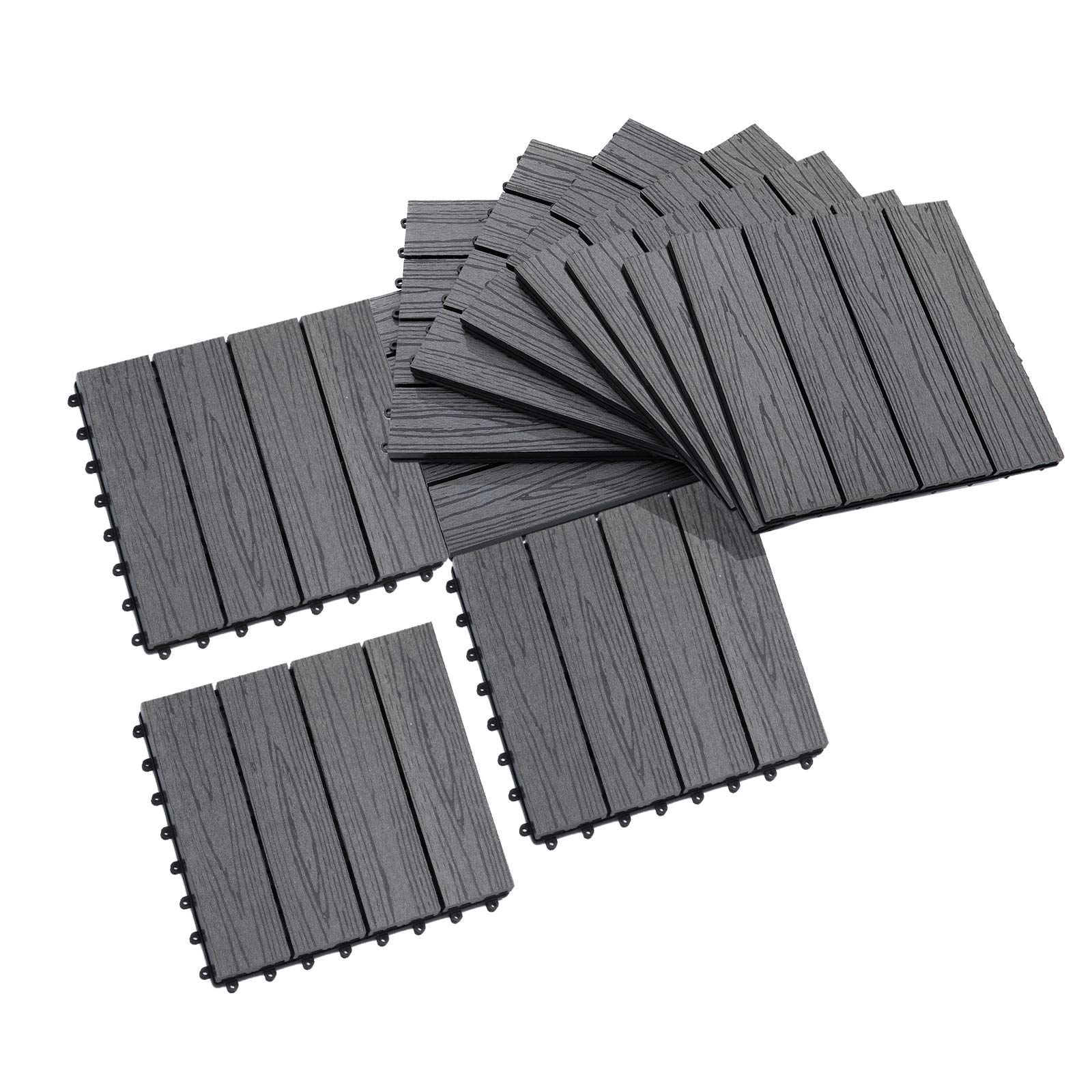 Outsunny 1' x 1' HDPE Interlocking Composite Deck Tile 10 Pack -Grey