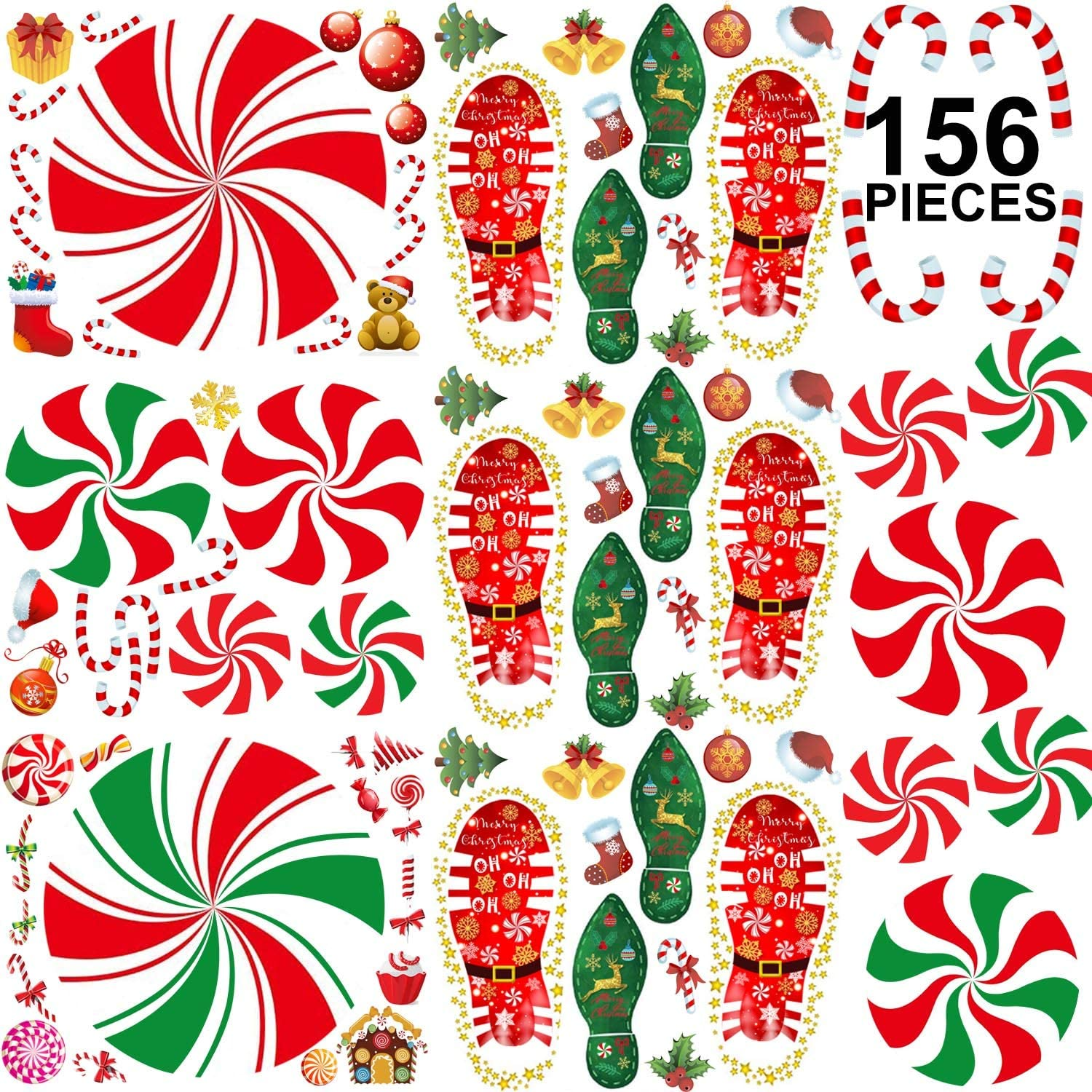 156PCS Christmas Peppermint Floor Decals Footprints Stickers for Christmas Candy Party Decoration Xmas Party Decor Supplies, 12 Sheets