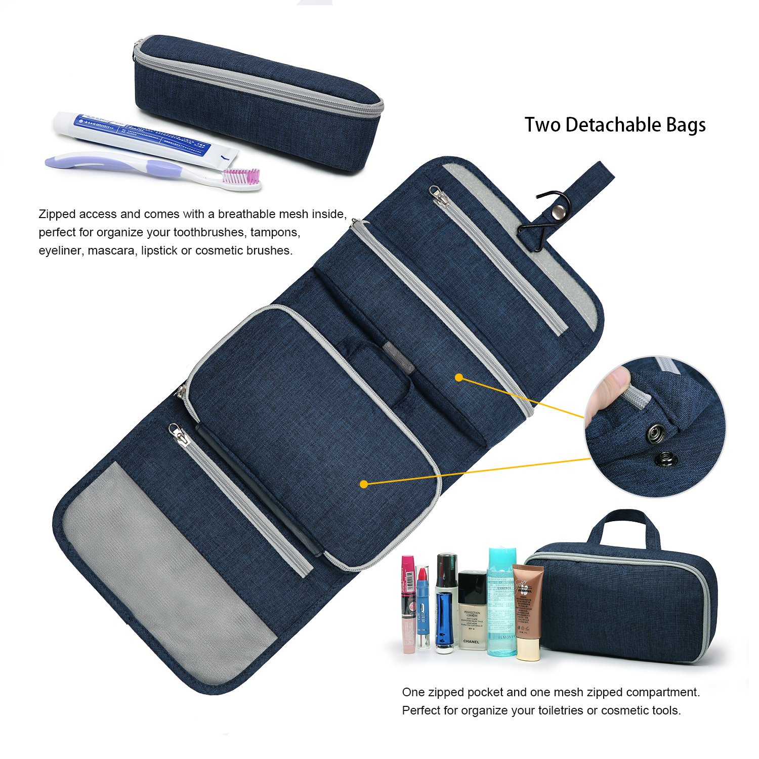 Mountaintop Hanging Travel Toiletry Bag, 7.1 x 2.4 x 9.3-Inch For Men & Women by Mountaintop (Image #4)