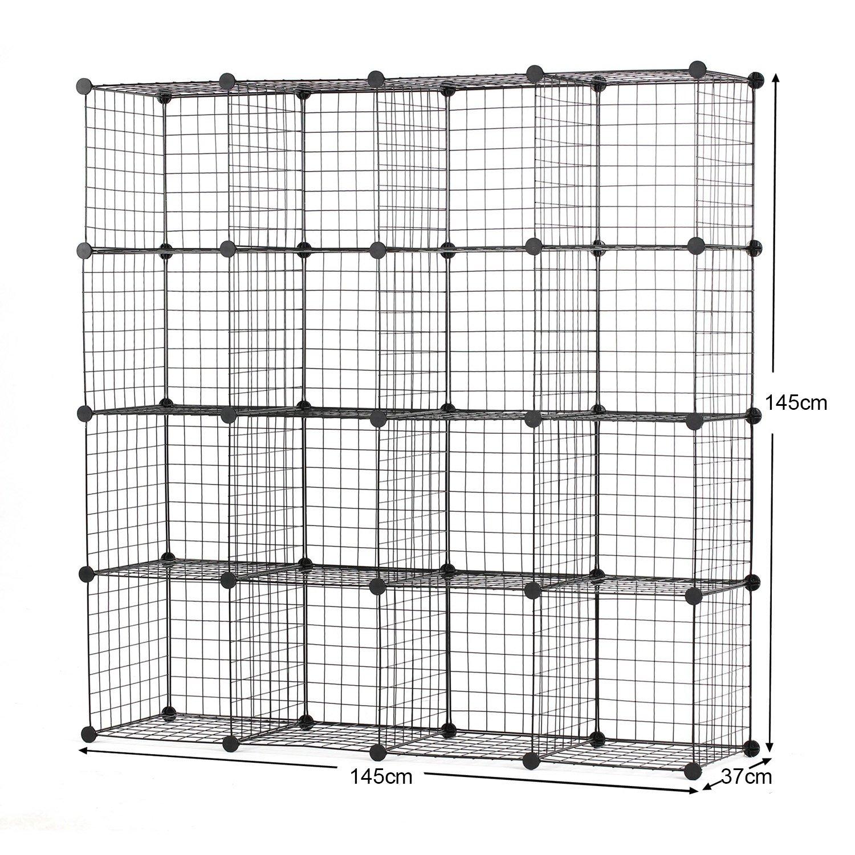 73936a07de11 Amazon.de  BASTUO 16-Cubes DIY Draht Aufbewahrung Schrank Bücherregal Regal  Körbe Modular Cubes