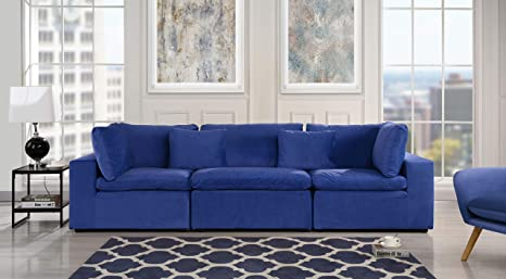 Navy Blue Classic Modular Sofa Couch, Convertible 3 Piece Sofa (Custom  Couch Feature) Modern Velvet Couch Sofa from 2Pc Loveseat w/Single Sofa, ...