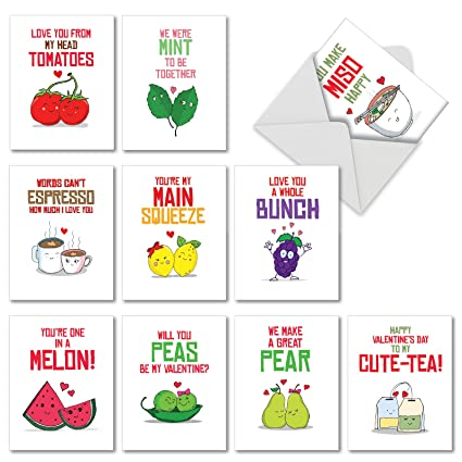 Box Set of 10 'Romantic Yummy Puns' Valentine's Day Greeting Card Featuring  Images of Hilarious and Lip-Smacking Lover's Food Puns, with Envelopes
