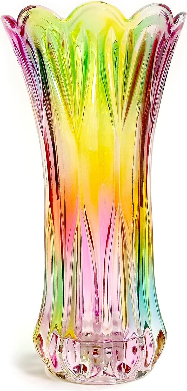 EWEIGEER Crystal Glass Vase,Colorful Flower Vase for Home Decor,Table,Living Room Decoration,Cool Design