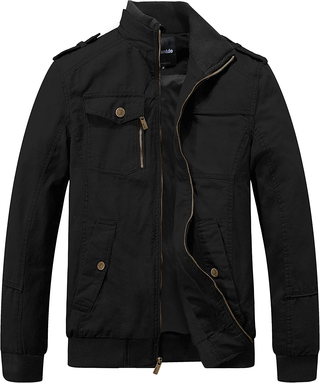 Wantdo Men's Military Cotton Lightweight Casual Stand Collar Windbreaker Jacket: Clothing