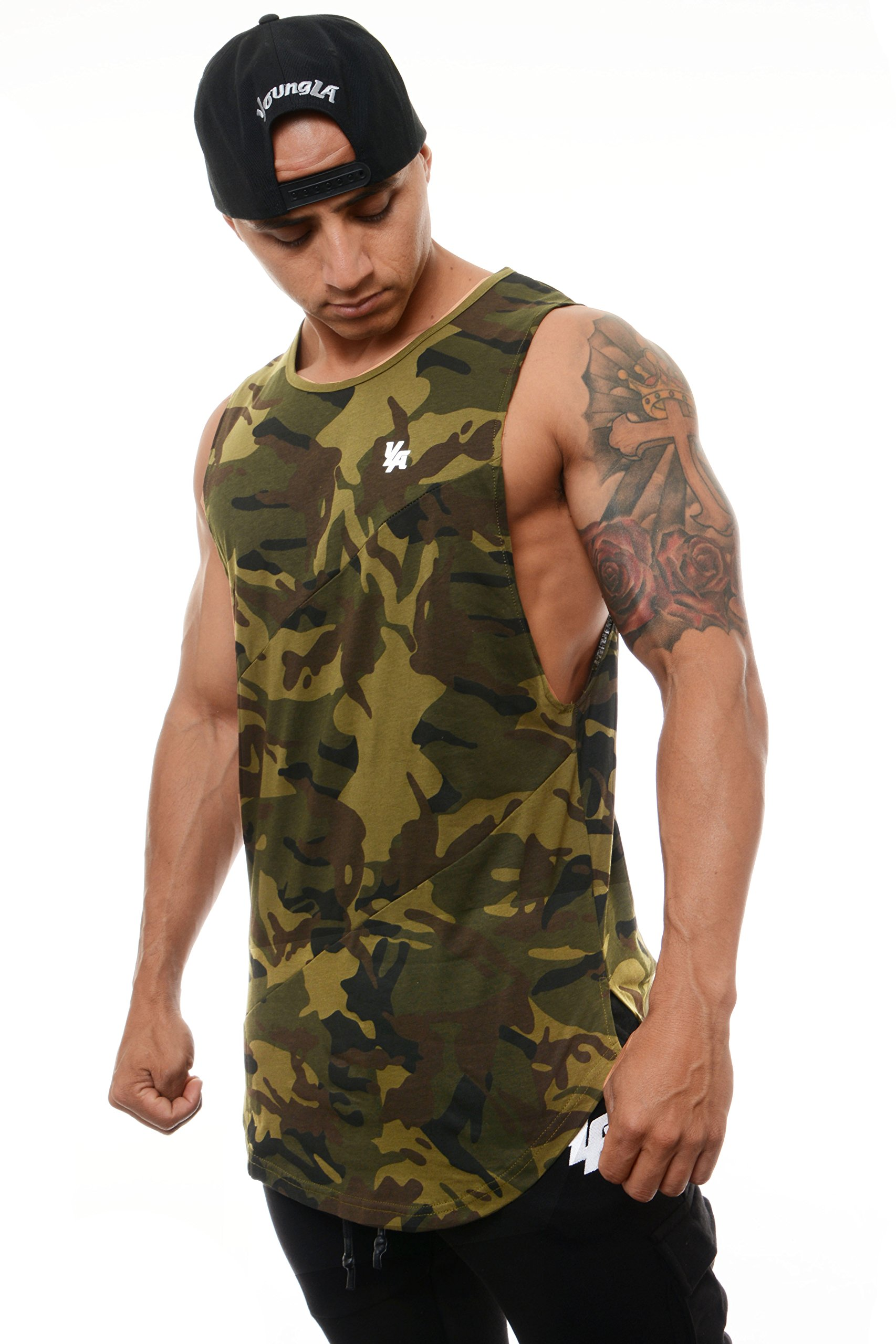YoungLA Long Tank Tops for Men Muscle Shirt Bodybuilding Gym Athletic Training Sports Everyday Wear 306 Camo Green Small