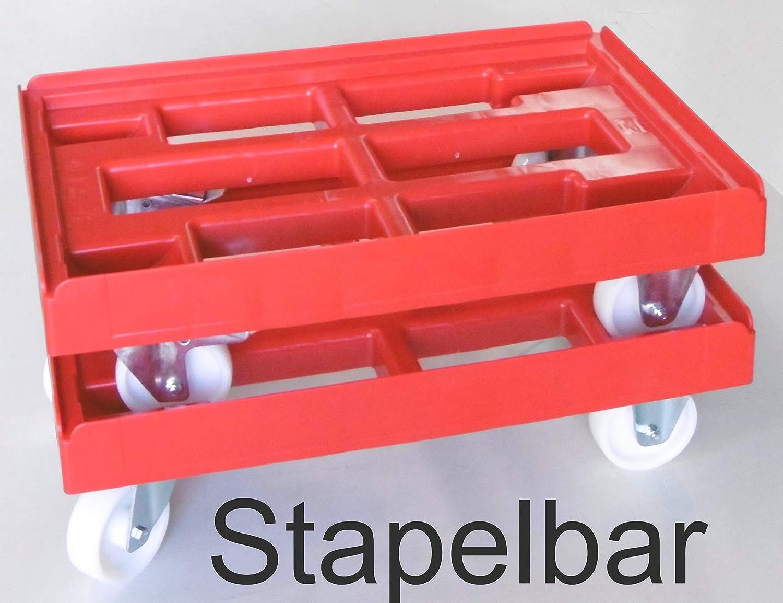 Kistenroller Transportroller Kisten-Transport-Dolly 600 x 400 mm R/äder PP 2 Lenkrollen 2 Bockrollen wei/ß Ramen rot